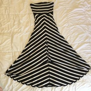 WHBM black & white stripe strapless dress